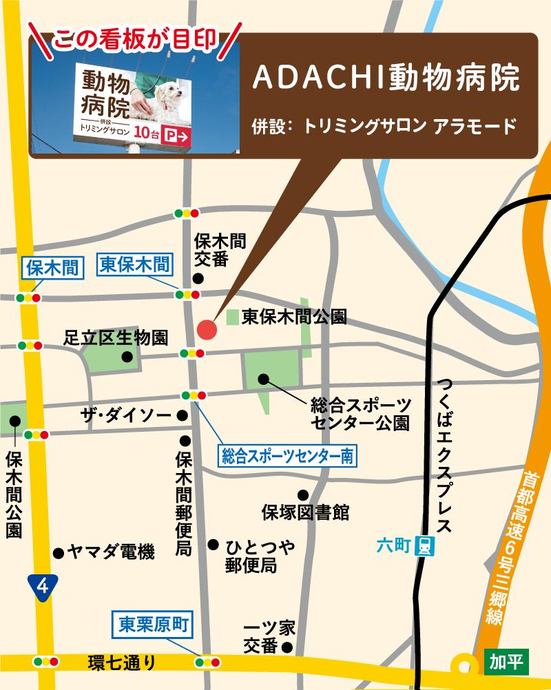 ADACHI動物病院の場所を案内する地図